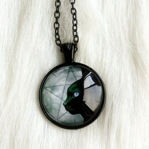 Jewelry - Black Cat Pentacle Glass Cabochon Necklace